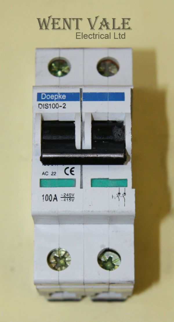 Doepke DIS100-2 - 100a Double Pole Switch Disconnector Used